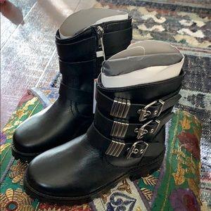 Zara girls leather motocycle boots